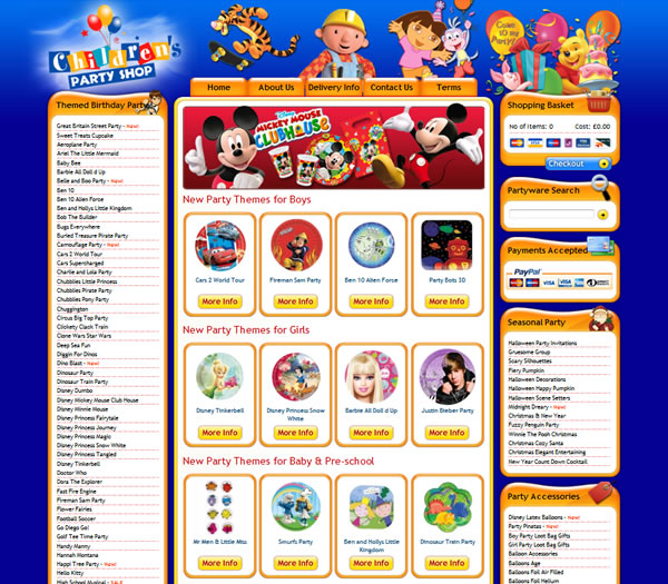 Children's Party Shop - Bespoke Ecommerce Website