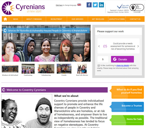 Screen shot of Coventry Cyrenians wesbite