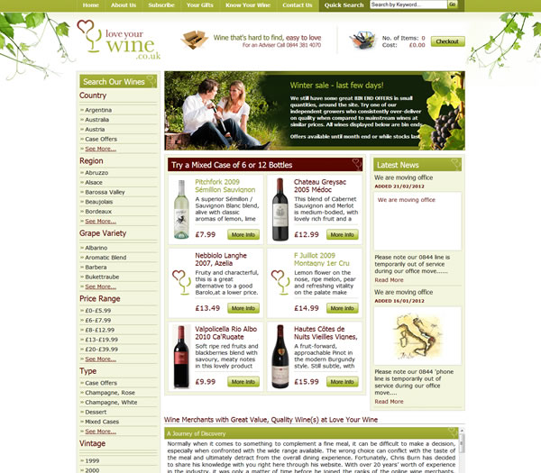 Love Your Wine - Bespoke Ecommerce Website